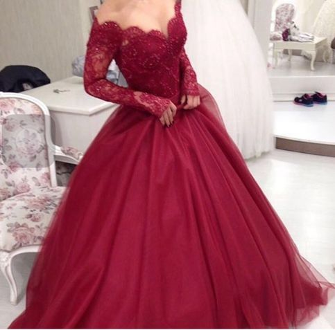 Custom made burgundy long sleeve prom dress,formal dress · Dream ...