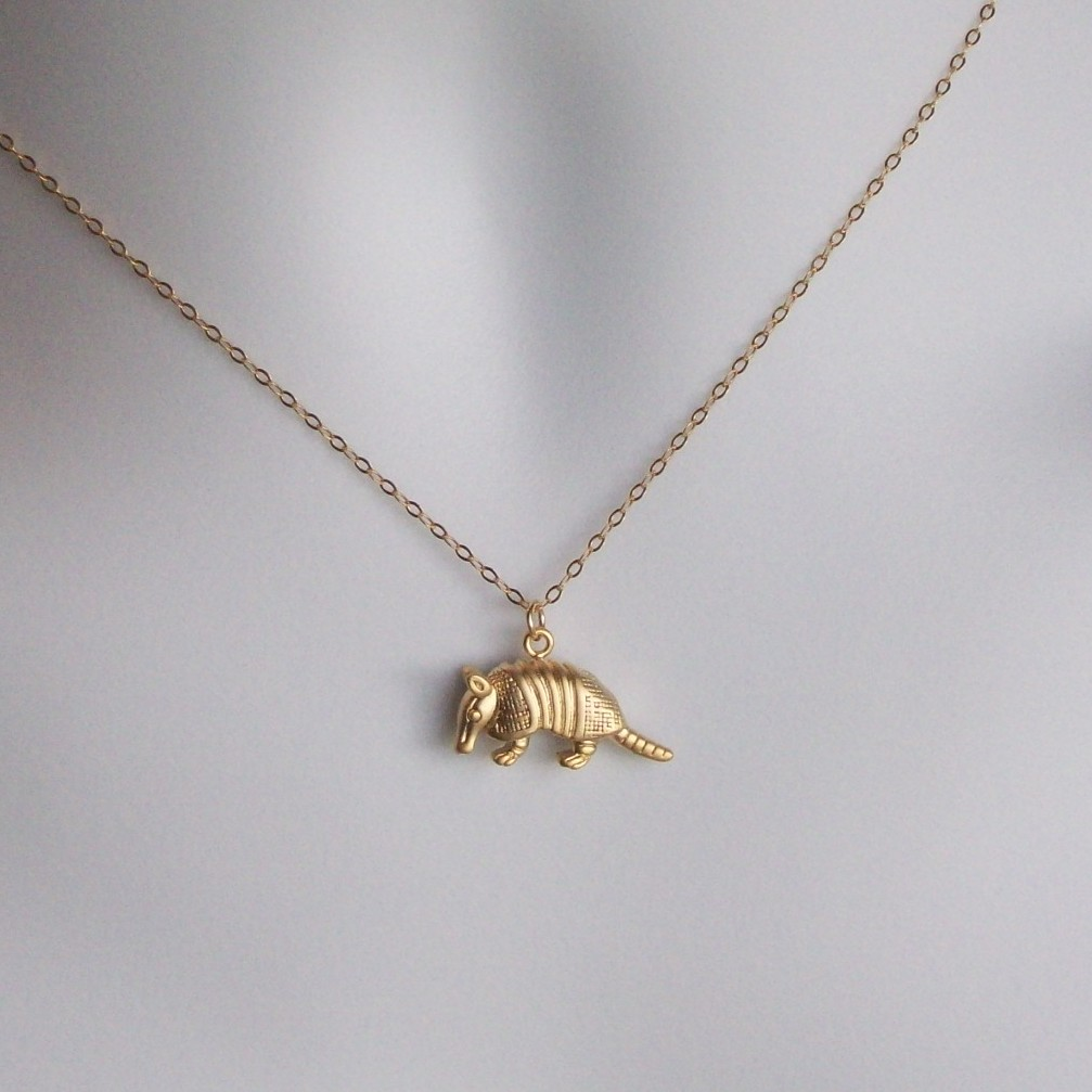 Gold armadillo necklace 3d armadillo pendant necklace for Gold filled jewelry