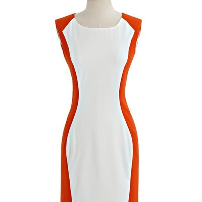 White & orange hourglass dress