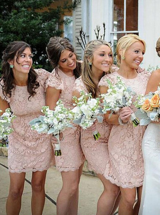 Open Back Lace Bridesmaid Dresses, Sexy Short Bridesmaid Dresses, Lace Bridesmaid  Dresses, Cute