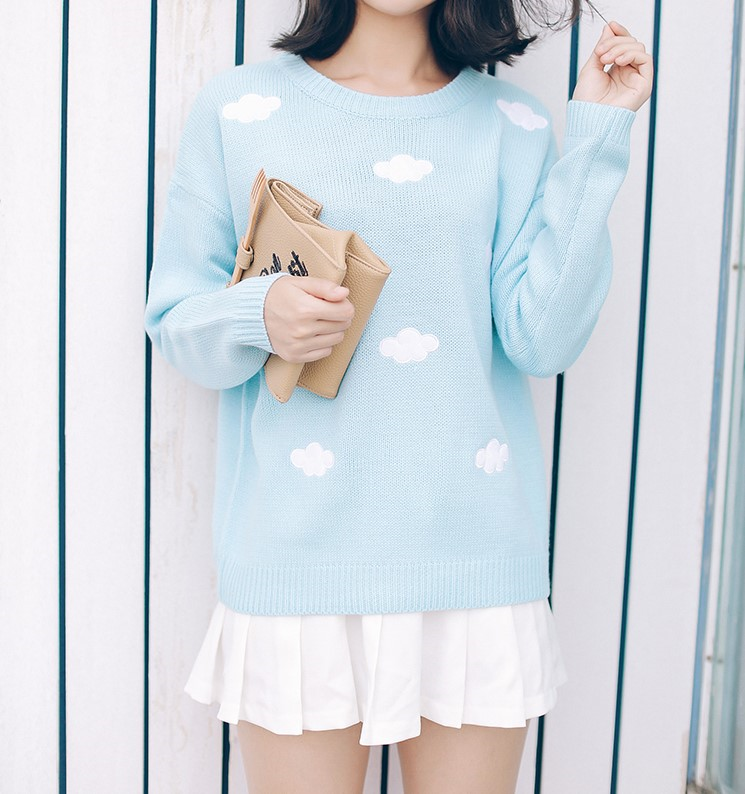 Sweet Patch Embroidery Clouds Sweater Knit 183 Fashion