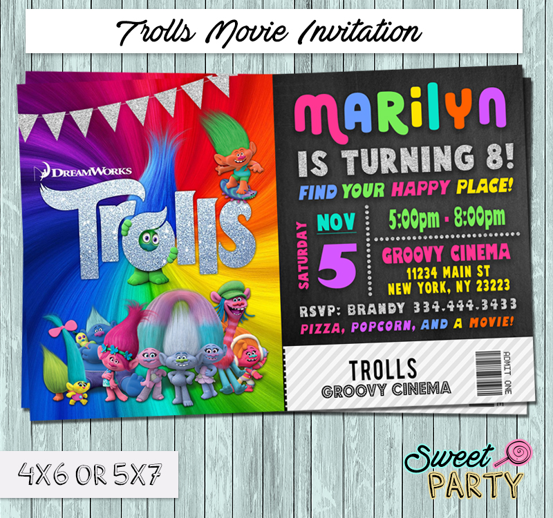 Dreamworks Trolls 2016 Movie Ticket Invitation - You Print Party ...