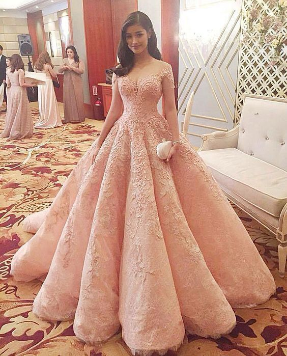 Custom made off shoulder lace long prom gown, formal dress ...