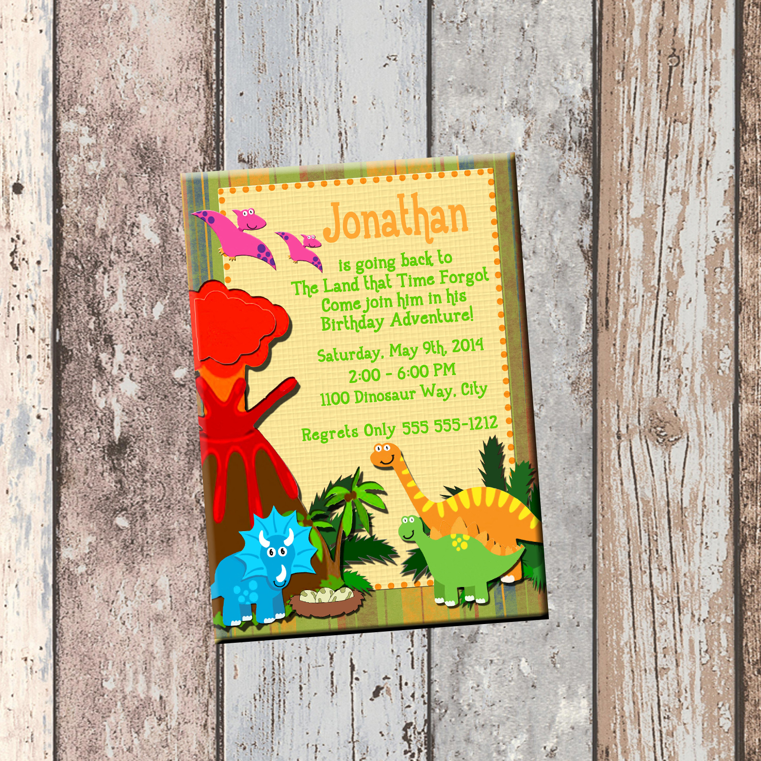 Dino Babies Personalized Birthday Invitation 1 Sided Card Party Dinosaur