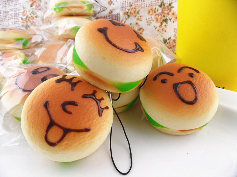 Jumbo Emoticon/Face Hamburger Squishy Charms ? Kawaii Squishy Shop ? Online Store Powered by ...