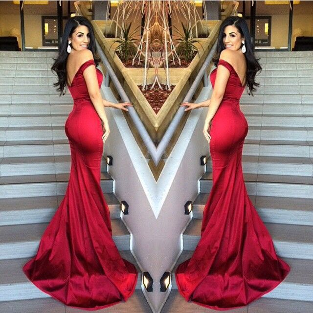 Prom Dress Mermaid Red Off Shoulder V-neck Satin Long Sleeveless ...