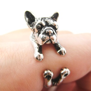 French Bulldog Puppy Animal Wrap Ring in Shiny Silver - Sizes 4 to 9 Available