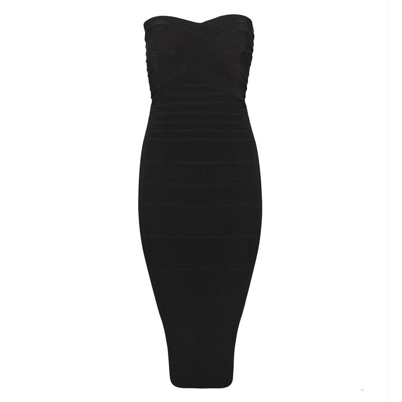 Joelle Hadjia Black Knee Length Strapless Bandage Dress