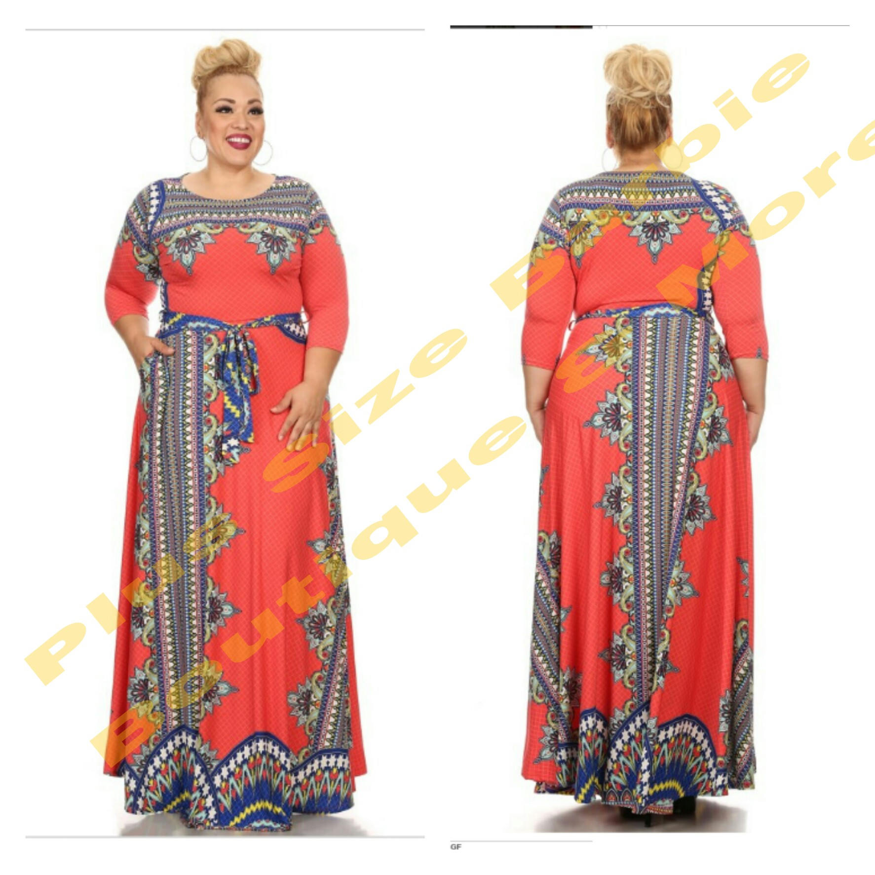Coral Doris Maxi Dress from Plus Size Barbie Boutique&More