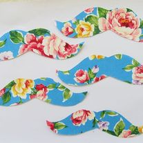 Floral Mustache Iron on Applique- 4 pack  - Thumbnail 3