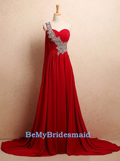 Beautiful Red One Shoulder Chiffon Long Prom Dress 2017, Red Prom ...