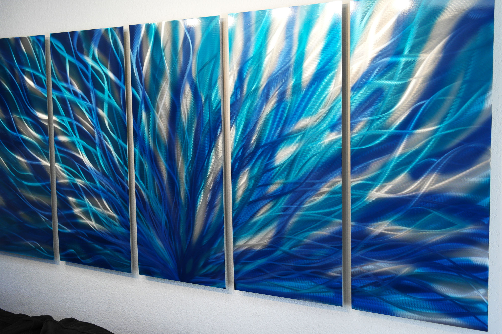 Blue Abstract Wall Decor : Radiance blue metal wall art abstract sculpture