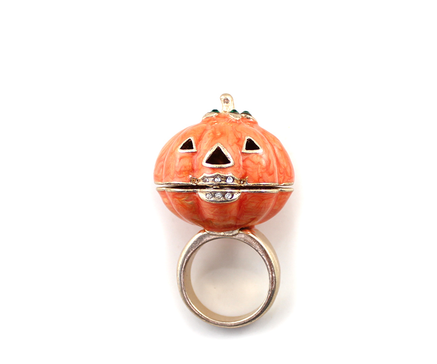 On Sale Yellow Rhinestone Pumpkin Ring Halloween Ring Sweetbox Store Onli