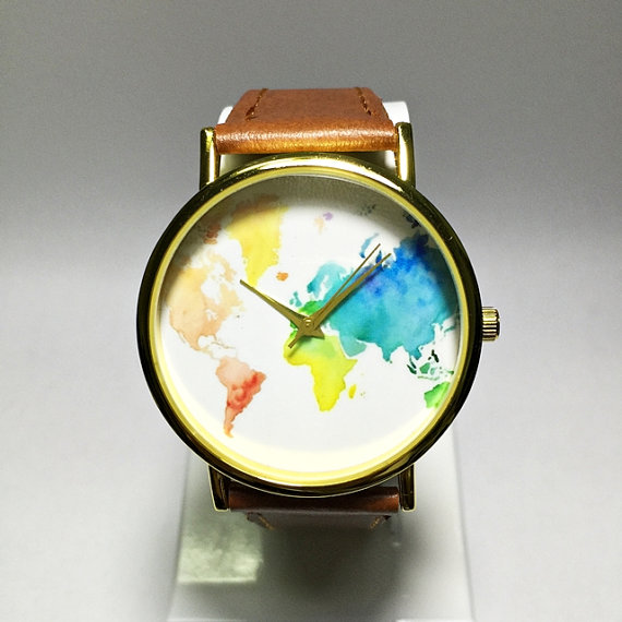 Colored map watch world map mens watch wrist watch vintage style colored map watch world map mens watch wrist watch vintage style leather watch gumiabroncs Gallery
