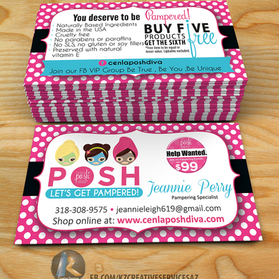 Perfectly Posh Business Cards 4 Kz Creative Services Online