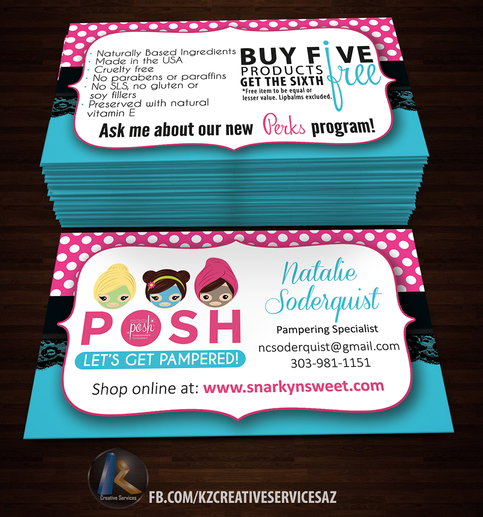 Perfectly posh business cards 13 kz creative services for Paycation business cards