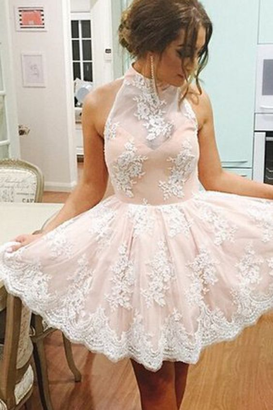 Lace Halter homecoming dress, short homecoming dress, Short lace ...