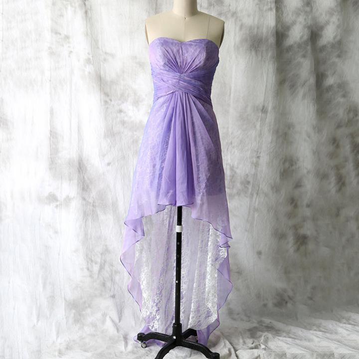 Purple High Low Bridesmaid Dress