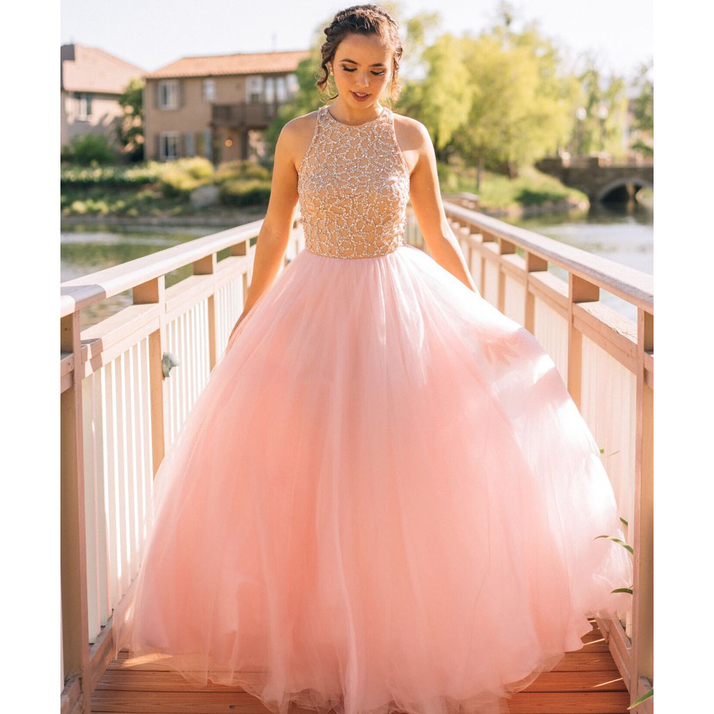 Elegant Jewel Neck A-line Pink Long Prom Dress, Sleeveless Princess ...