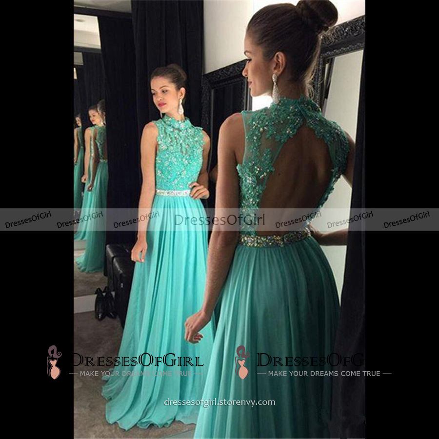 High Neck Open Back Long Prom Dress, Light Blue Princess Lace ...
