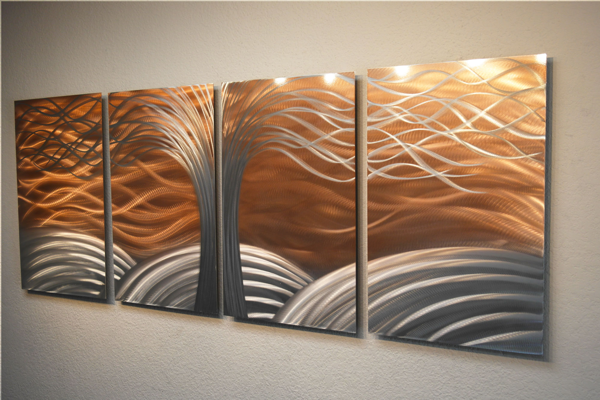 Copper Wall Art tree of life bright copper - metal wall art abstract sculpture