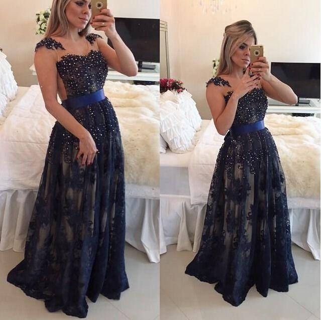 Dark Navy Blue Beaded Long Prom Dresses 2016 Lace Floor Length A ...