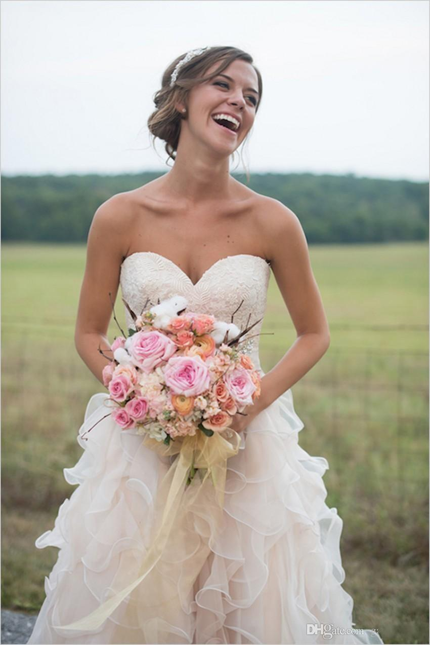 Organza Sweetheart Wedding Dress Fairy Flounced Skirt Bridal Gown ...