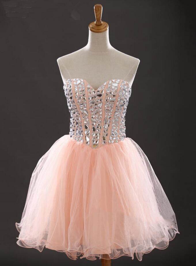 Short Peach Prom Dresses Looking