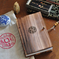 Letterpress Handmade Wooden Book: Authentic Chinese Characters: 福,祿,壽,喜