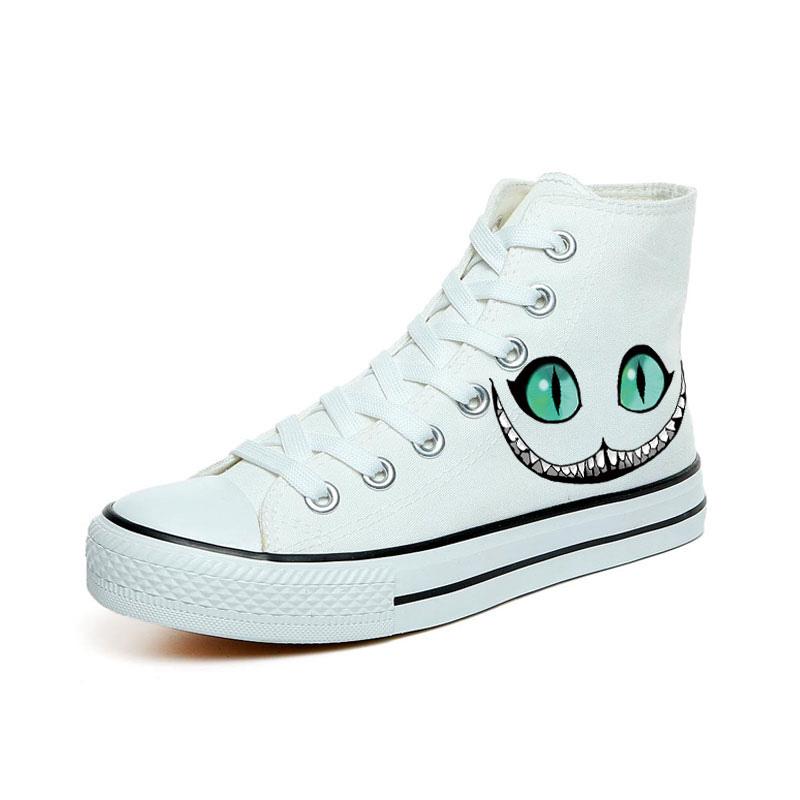 harajuku personality cat printing canvas shoes