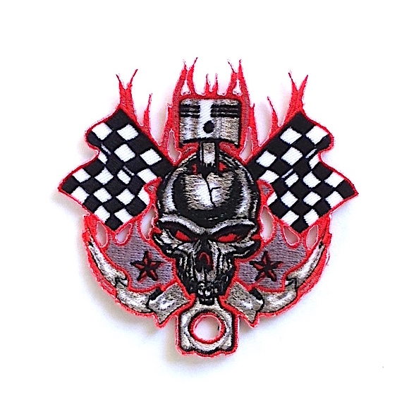 skull racing flag iron on patch size 3 62 x 3 54 1 6 star patch