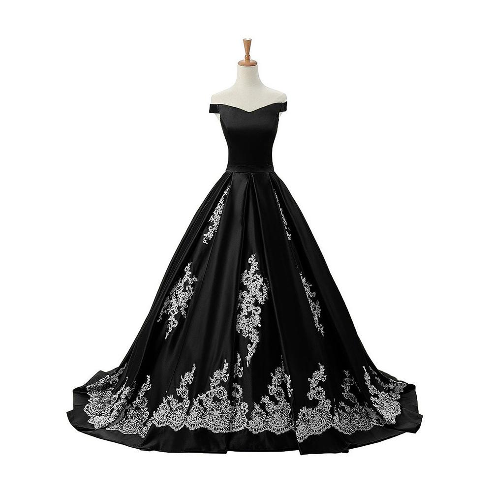 chic off the shoulder pleats black prom dress princess