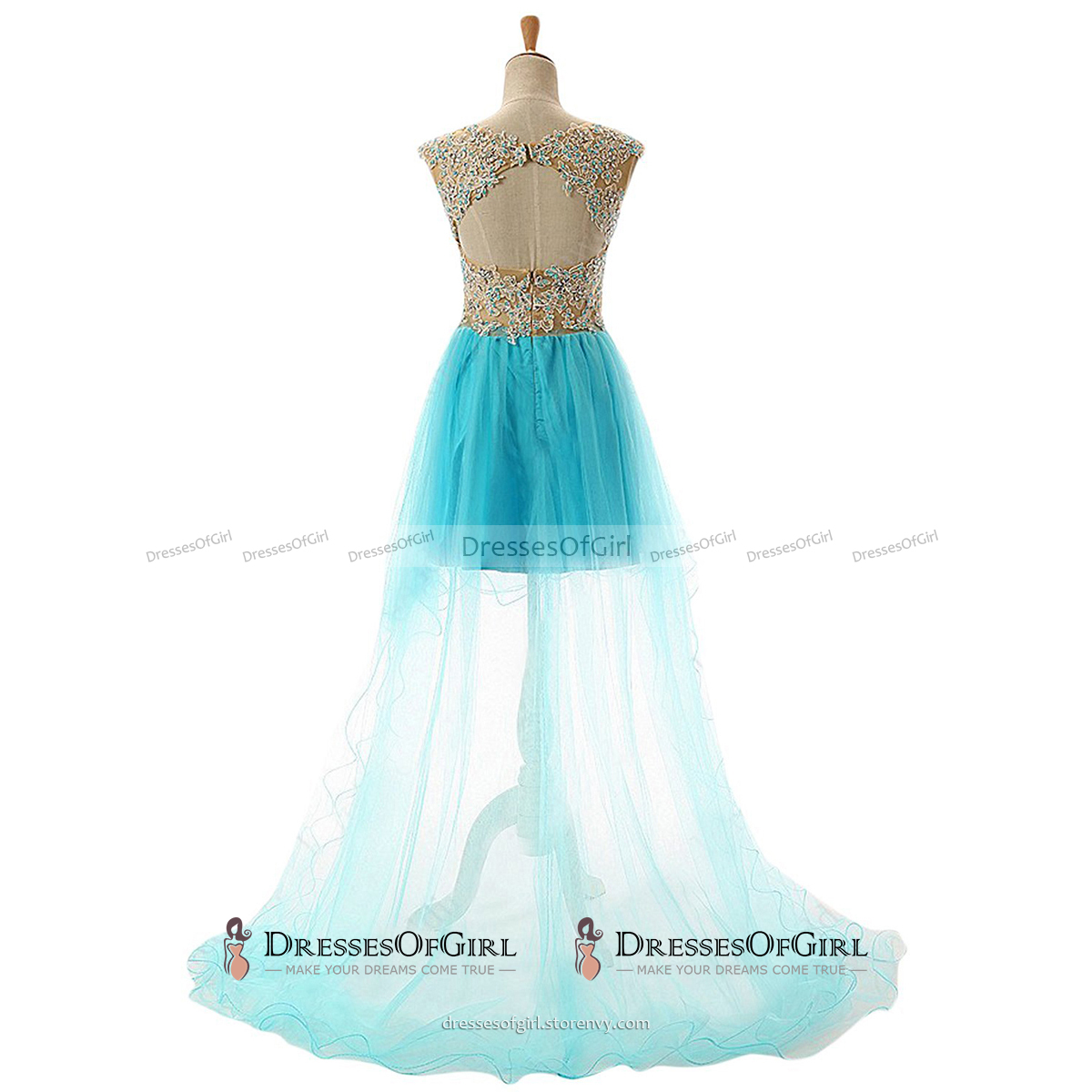Scoop Neck See-through Lace Appliques Tulle Prom Dress, Crystal ...