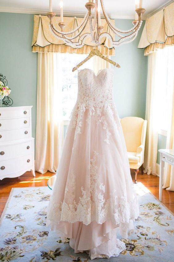 Blush Pink Wedding Dresses High Low Vintage Lace Wedding Dress For Brides    Thumbnail 1 ...
