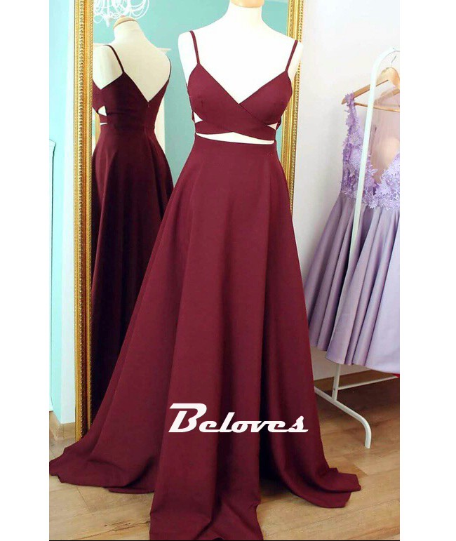 Burgundy V Neck Evening Gown,Prom Dress Cut Out Waist · Beloves ...