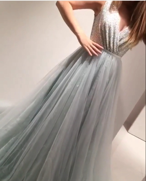 Charming Prom Dress,Tulle Prom Dress,A-Line Prom Dress,Beading Prom ...