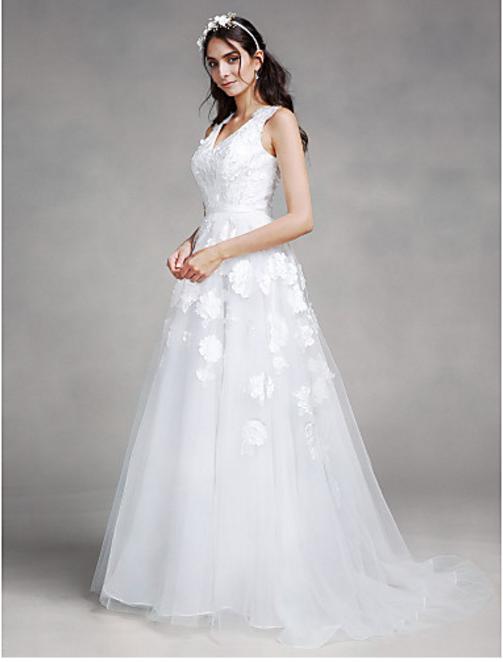 V Neckline Organza Wedding Dress Petals Detail Lace Up Back ...