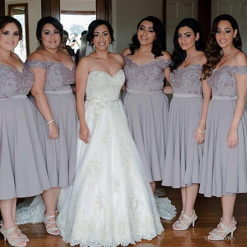 Short bridesmaid dress grey lace chiffon bridesmaid for Silver tea length wedding dresses