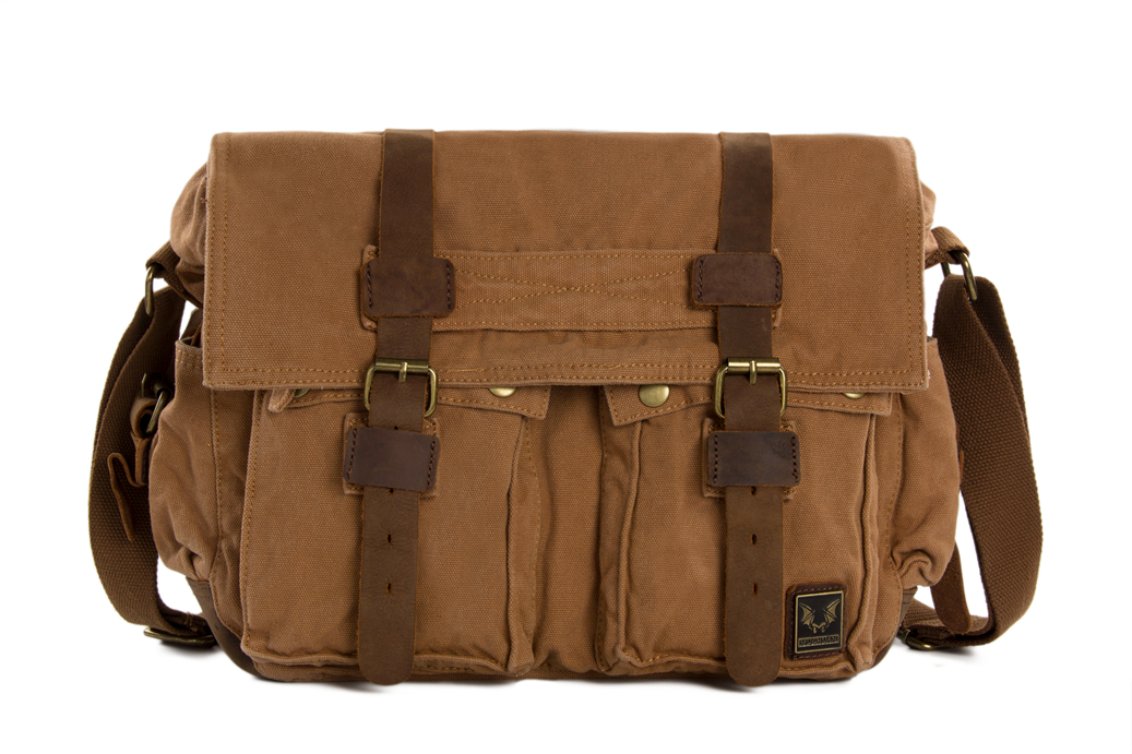 Canvas Leather Messenger Bag / Crossbody Bag / Shoulder Bag ...