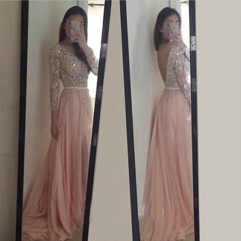 Sparkle Exquisite Pink Prom Dresseslong Sleeves Beadings Crystal