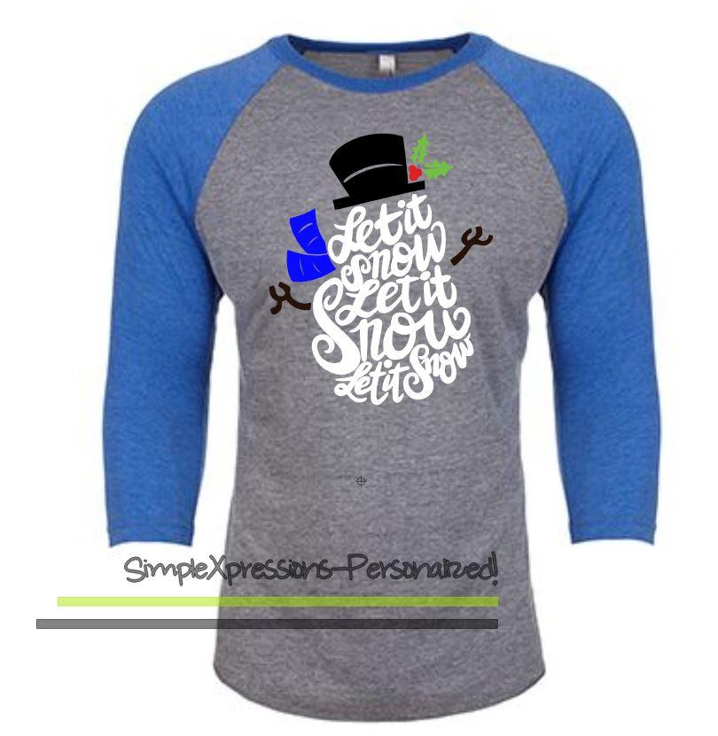 Let It Snow Snowman Adult Raglan Shirt