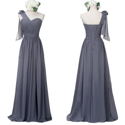 Chiffon long dark gray one shoulder bridesmaid dress lace for Dark grey wedding dresses