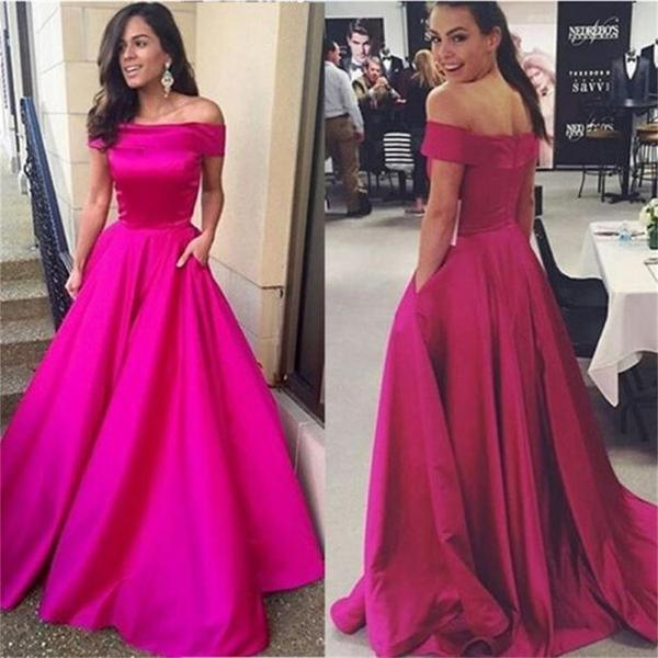 Gorgeous Off the shoulder Prom Dress, Hot Pink Long Prom Dress ...