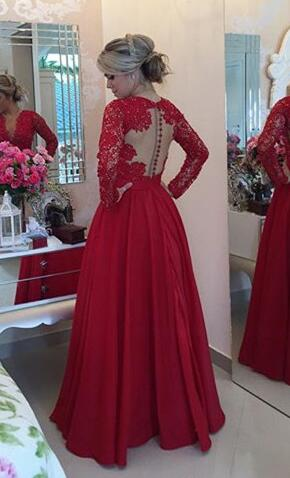 Long Sleeve Red Lace Prom Dresses Long Open Back Prom Dress Red