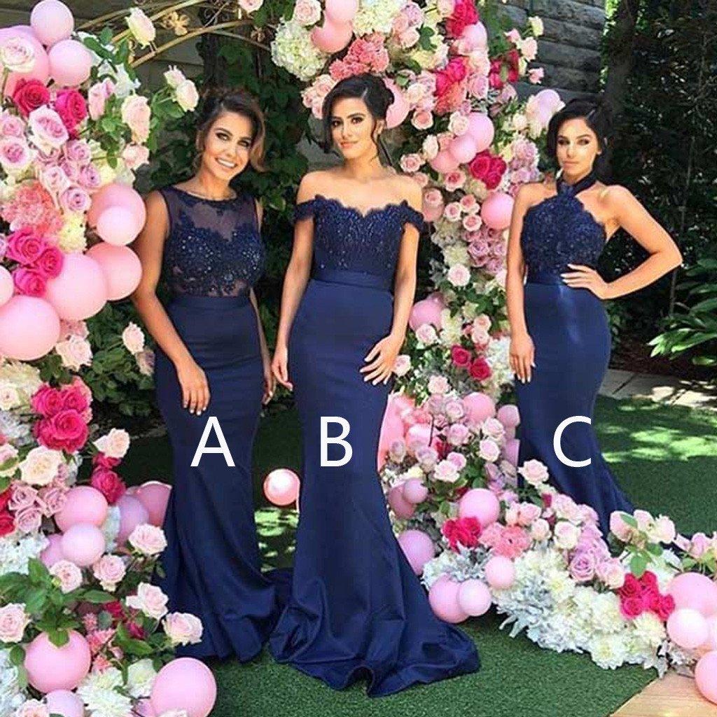 Long Mismatched Bridesmaid Dress Navy Blue Bridesmaid Dress