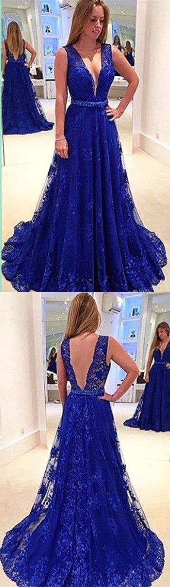Royal Blue Backless Prom Dress,Long Prom Dresses,Charming Prom ...