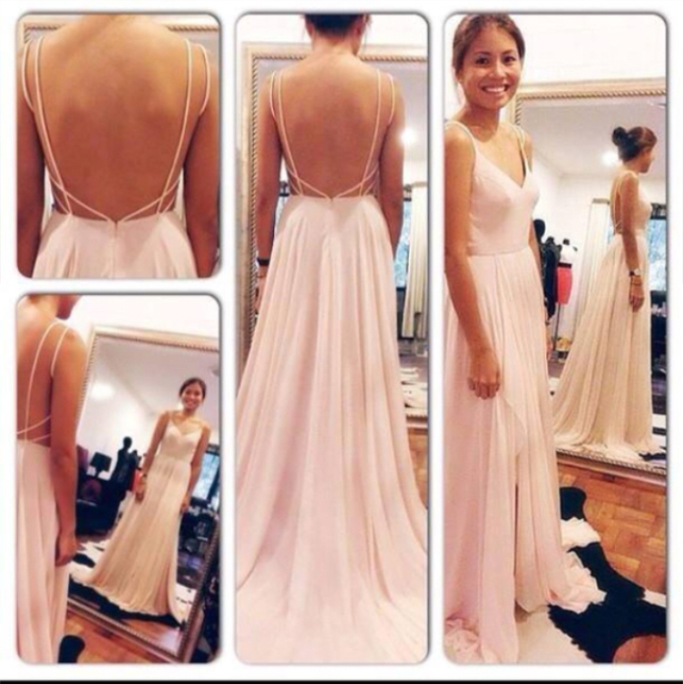 Custom Simple Backless Prom Dress V-neck Blush Pink Long Slit Prom ...