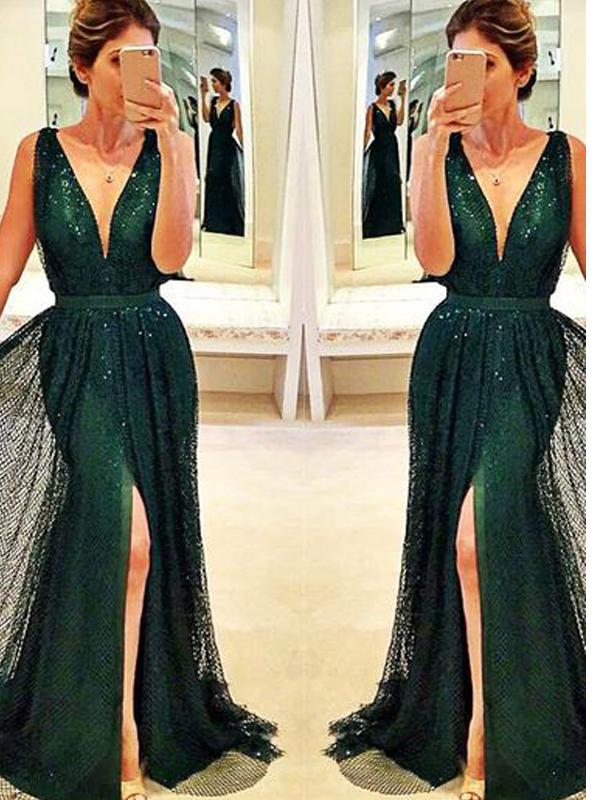 Sexy green prom dress