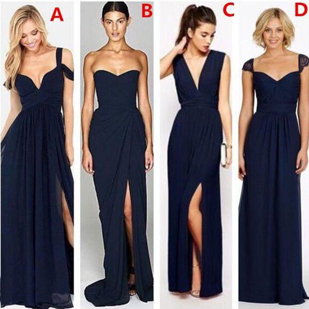 Navy Blue Bridesmaid Dresses | Most Popular Different Styles Mismatched Sexy Chiffon Navy Blue