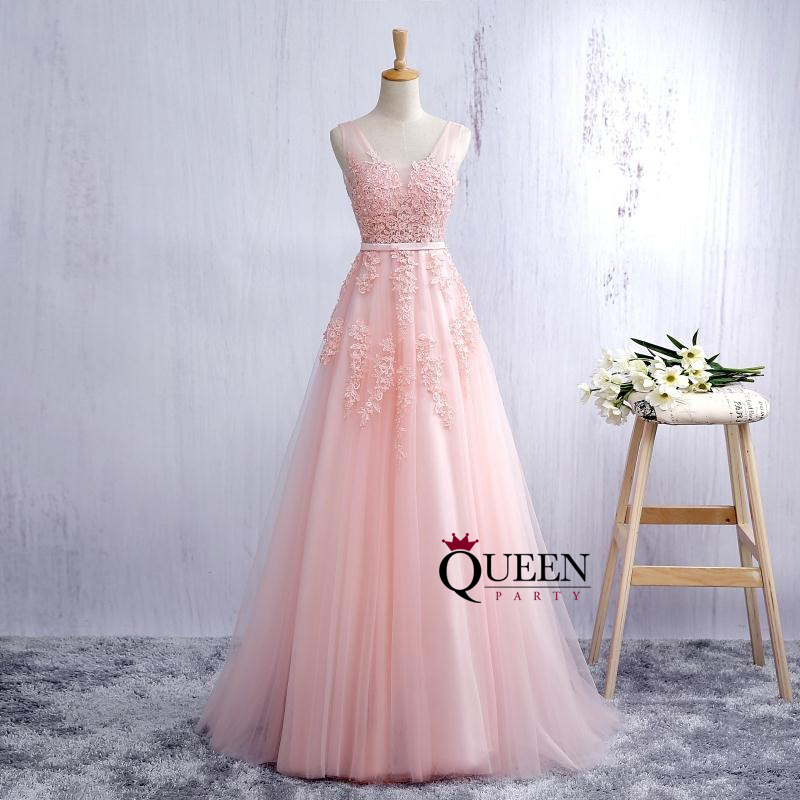 Pink Lace Applique Tulle Ball Gown Illusion Prom Gown, Deep V-Neck ...